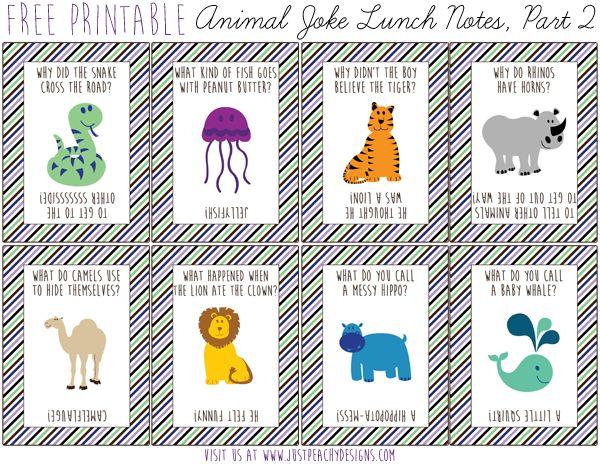 More Free Animal Joke Lunch Notes