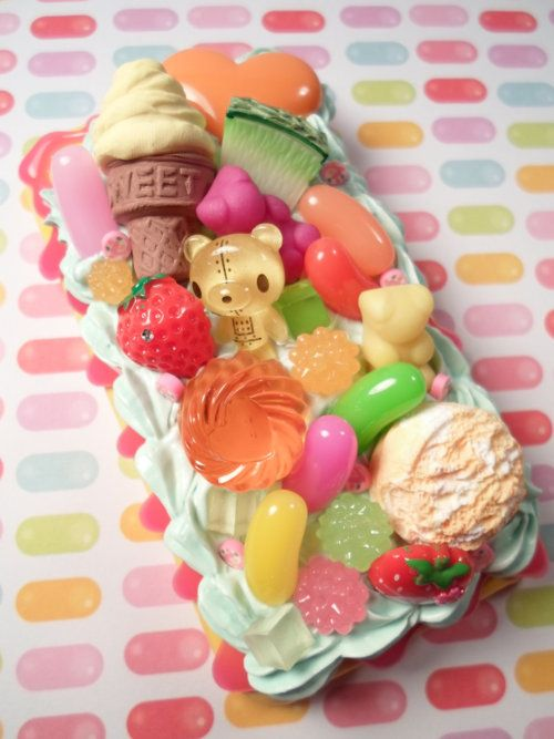 Fruits and sweets decoden cell phone case.