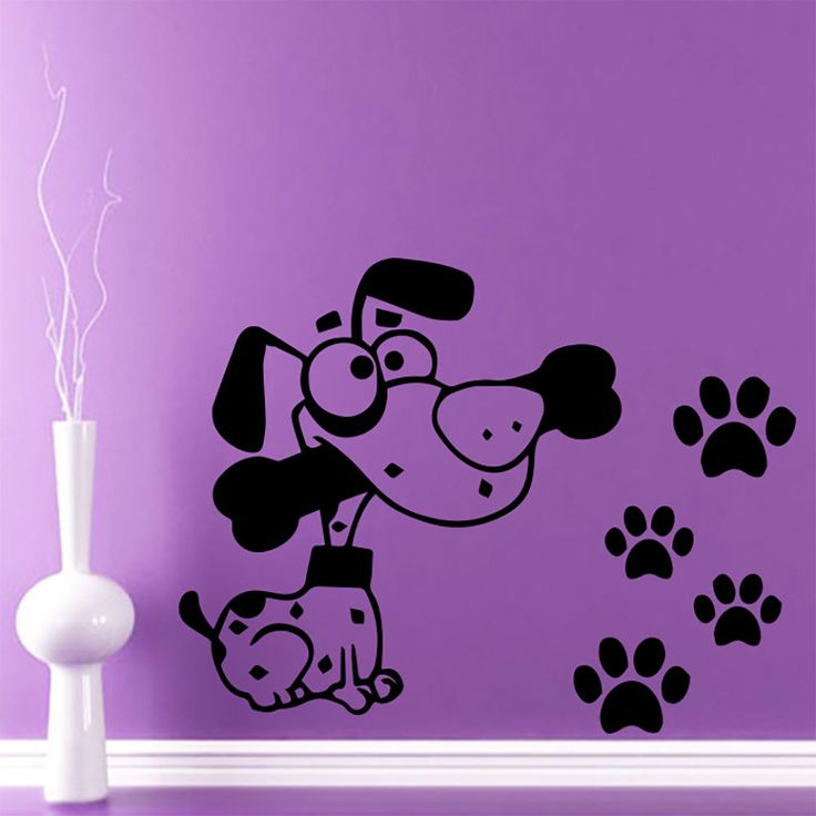 Wall decal dog paws decals vinyl sticker grooming salon for 4 paws grooming salon