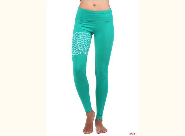 Zelené_organické_kalhoty_na_jógu_s_motivem_mořské_víly