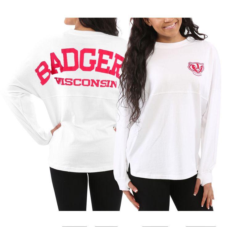 Wisconsin Badgers Women's White Sweeper Long Sleeve Oversized Top
