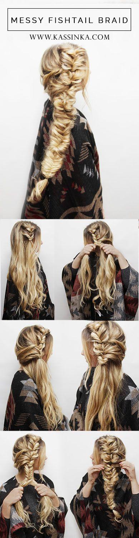 nice Messy Fishtail Braid Hair Tutorial - Kassinka by http://www.dana-haircuts.top/hair-tutorials/messy-fishtail-braid-hair-tutorial-kassinka-2/