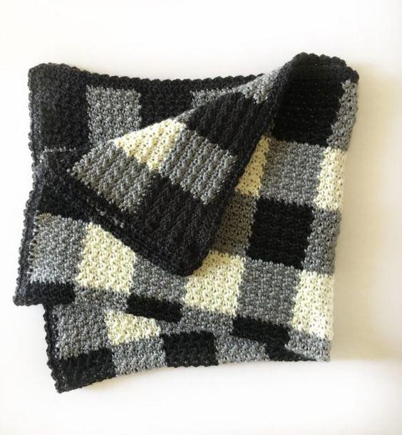 Crochet Griddle Stitch Gingham Blanket - Daisy Farm Crafts
