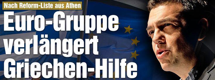 EU-Kommission: Griechen-Hilfsprogramm soll bis Ende Juni verlängert werden - Grünes Licht der Euro-Finanzminister | Neue Milliarden für die Griechen - Dicke Strafen für Betrügerbonzen ++ Essensmarken für Arme ++ Euro-Finanzminister beraten am Nachmittag ++ Bundestag stimmt Freitag ab ++ http://www.bild.de/politik/ausland/griechenland-krise/tricksen-die-griechen-jetzt-schonwieder-39896776.bild.html