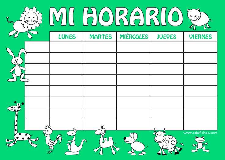Vuelta al cole. Horario de clases para escribir   #horario #tabla #clases  http://www.edufichas.com/blog/horario-escolar-para-imprimir/