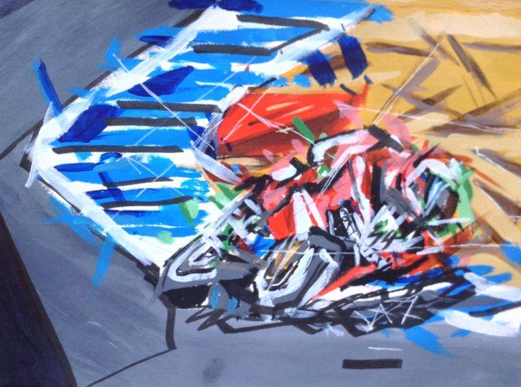 Futurism art painting motorcycle beginner