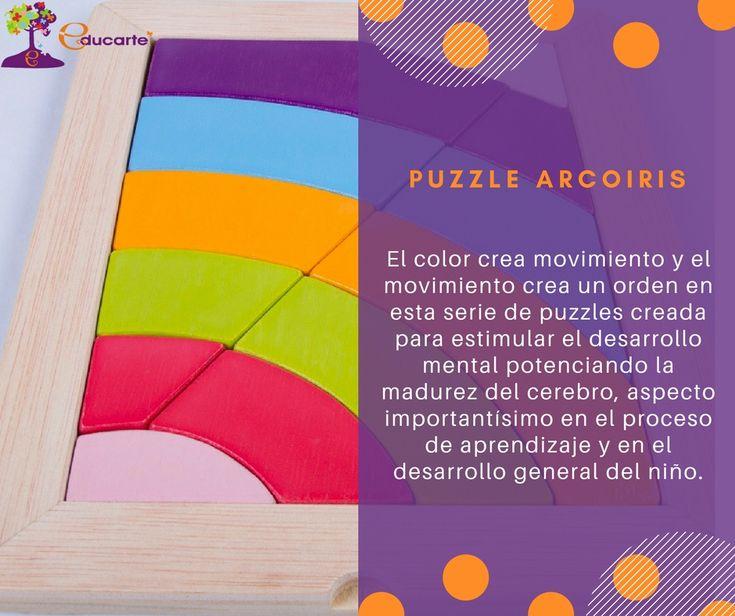 Puzzle Arcoiris Desde el trabajo de la psicología educativa con color estos puzzles son todo un reto para seguir creciendo con estimulación. El color crea movimiento y el movimiento crea un orden en esta serie de puzzles creada para estimular el desarrollo mental potenciando la madurez del cerebro, aspecto importantísimo en el proceso de aprendizaje y en el desarrollo general del niño. https://academia-centro-educarte.com/producto/puzzle-arcoiris/