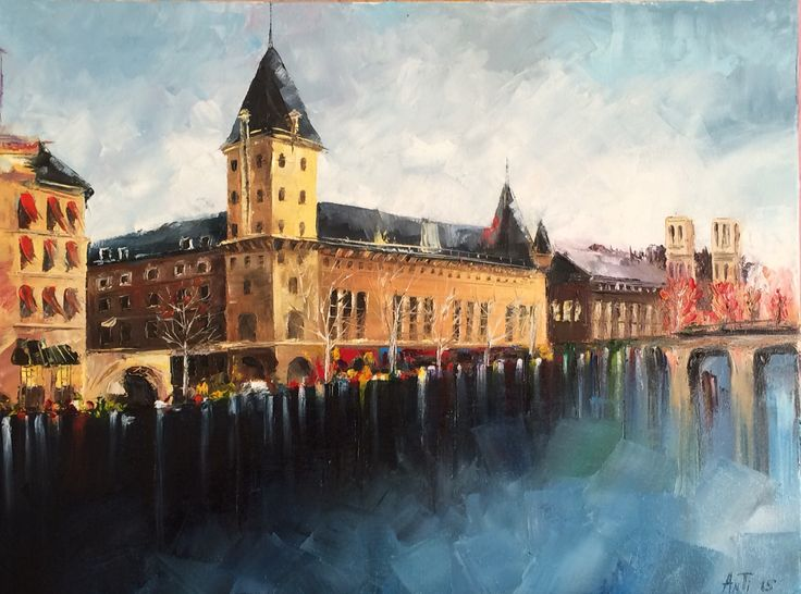 #city on the river  #oil #canvas