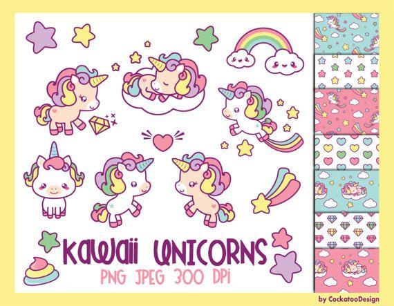 25% OFF SALE, kawaii unicorn clipart, unicorn digital paper, cute unicorn clipart, rainbow clipart, shooting star clipart, Commercial use