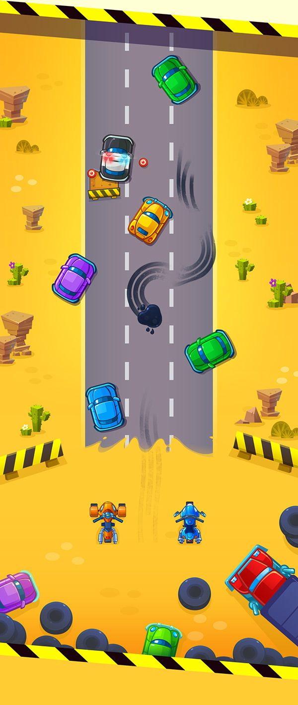 Cute game for kids. Professional game art. Runner. Bike. Car. Race. Android app.