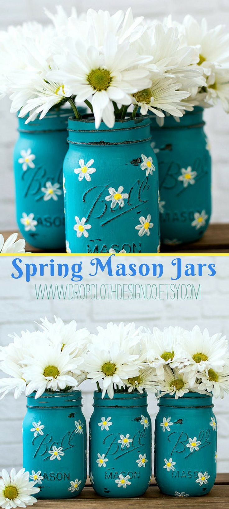 These daisy inspired painted mason jars just ooze with spring! I would love these for my front porch. Daisy Mason Jar Set - Teal Mason Jars Painted and Distressed with Daisies. #Ad #masonjar #masonjarcrafts  #spring #daisy #etsy