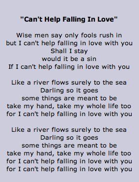 Lyrics to Can't Help Falling In Love- Elvis Presley - Lyrics go on back of homemade card