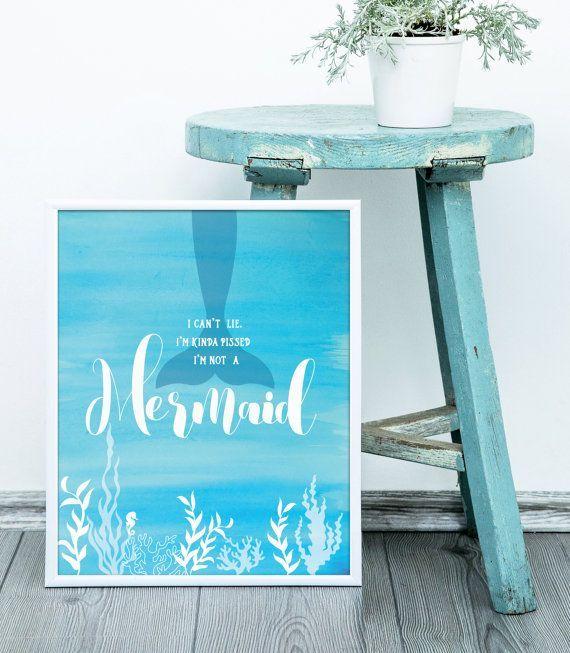 Digital Art Print, Mermaid Art Print, Watercolor Painting, Digital Art Print, Kids Room Decor, Beach Decor, Coastal Decor