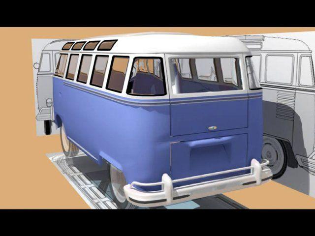 Modellierung eines VW Bulli in 3D Studio Max. Kleine Demonstration der Arbeitsschritte.