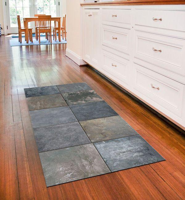 Faux Tile Skid Resistant Foflor Runner Mat Flooring Faux Tiles Bungalow Flooring