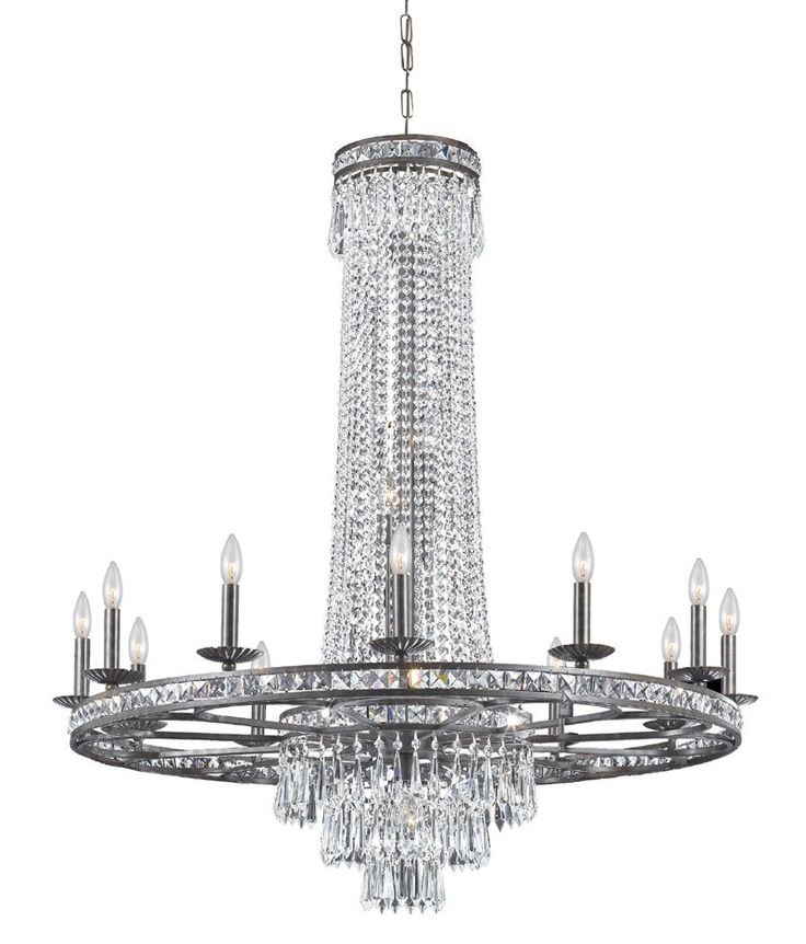 Crystorama Clear Swarovski Spectra Crystal Wrought Iron Chandelier 12  Lights   English Bronze   5269