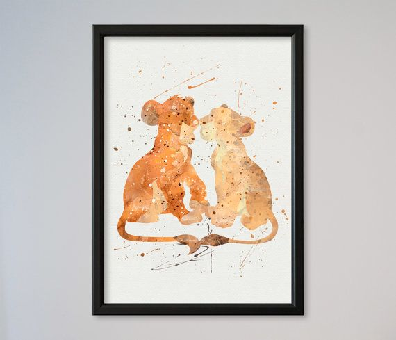 The Lion King Simba and Nala Watercolor Love Poster Print Picture Art Valentine's Day gift for her for him love gift
