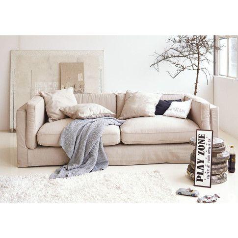 Mit abnehmbaren weißen Bezügen und Husse: weich gepolstertes Sofa mit zwei Sitzkissen.