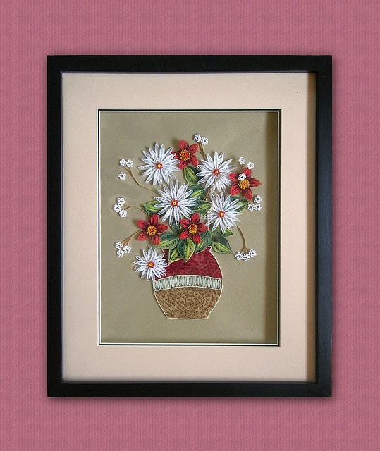 Quilling paper picture Flowers 3D by CreartiveShop, via Flickr