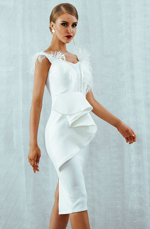 9c18b4fc0623 White Party Dresses Bodycon Midi Dress Whether is your friend's wedding or  any formal event, this beautiful dress would be perfect for you.