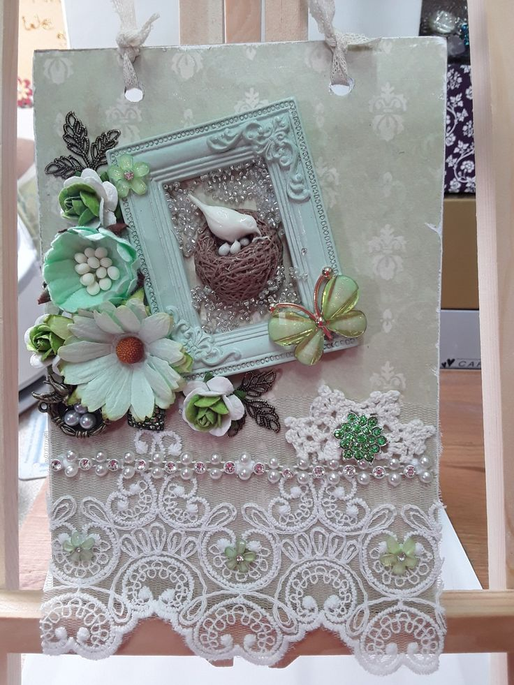 Pale green shabby chic plaque