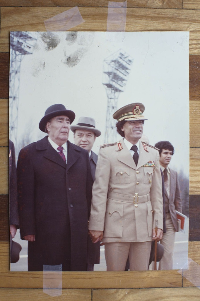 Colonel Gaddafi and Leonid Brezhnev, General Secretary of the Soviet Union, holding hands in Moscow, April 27th, 1981. Courtesy of Michael Christopher Brown/Human Rights Watch