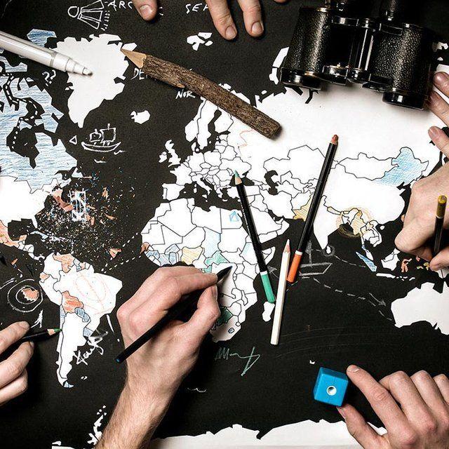 Color Your Travels World Map Poster | fun gift idea, art, design, decor