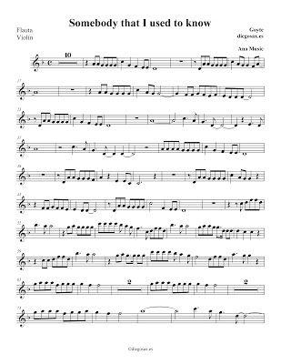 Somebody that I used to know de Gotye Partitura para Flauta, Violín, Oboe, Clarinete, Saxofón Alto, Más