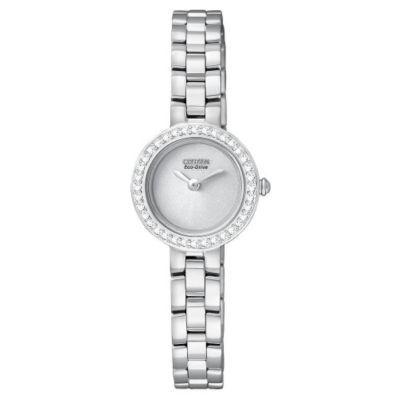 Citizen Eco-Drive ladies' stone set bezel bracelet watch- Ernest Jones