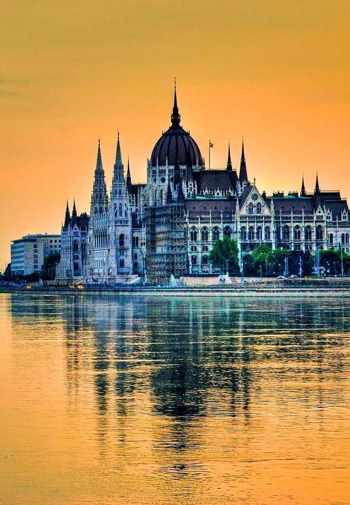 Budapest, Hungary. Our river cruise ship moored right opposite the Parliament building - what a stunning sight!