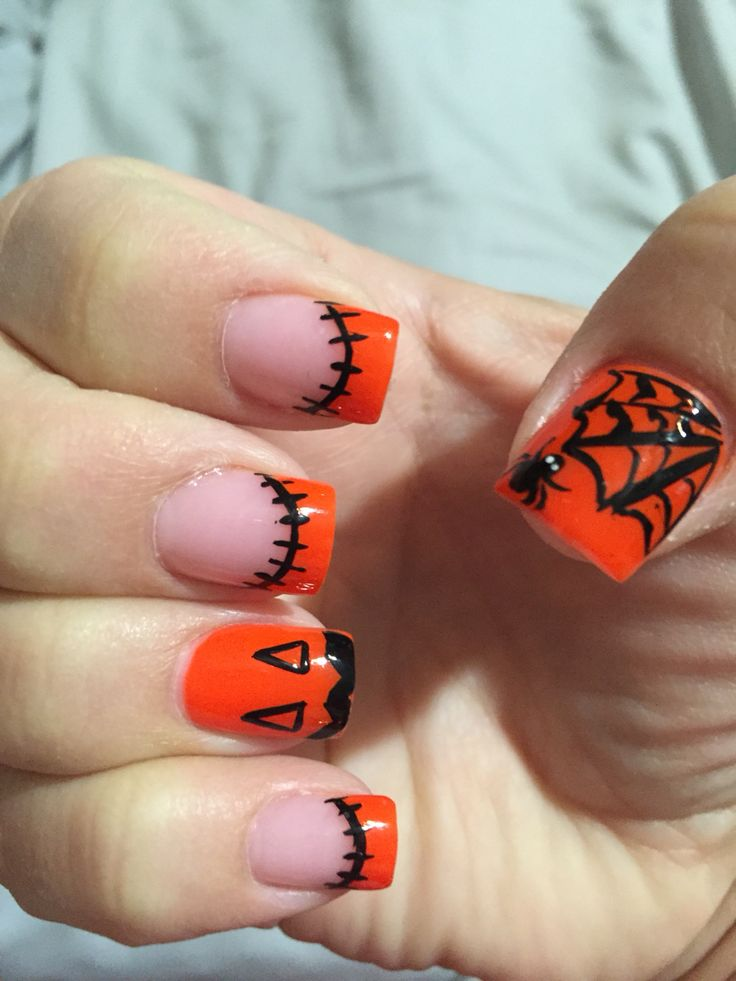 Halloween nail art pumpkin spiderweb spider orange black ...