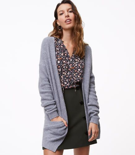 I like a big cardigan with pockets and I also like floral tops.