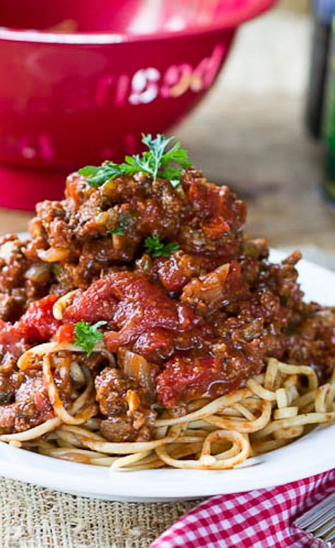 Southern Spaghetti Sauce just like my grandmother made. Super thick and meaty!