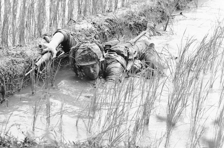 In this 1966 file photo, Pfc. Lacey Skinner of Birmingham, Ala., crawls through the mud of a rice paddy avoiding heavy Viet Cong fire near An Thi in South Vietnam, as troops of the U.S. 1st Cavalry Division fight a fierce 24-hour battle along the central coast. (AP Photo/Henri Huet): War Vietnam, 1St Cavalri, Laosvietnam War, Vietnam Memories, Rice Paddi, Vietnamese Community, Lacey Skinner, South Vietnam, Troops