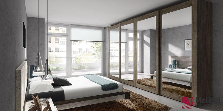 Armario correderas con marco de madera y cristal for Dormitorios juveniles modernos