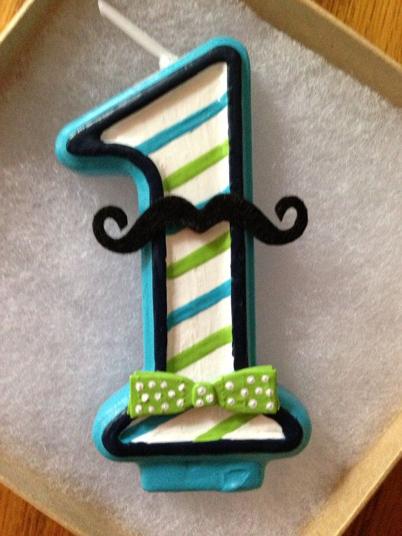 Hand painted Mustache and/or Bow-tie birthday candle via Etsy
