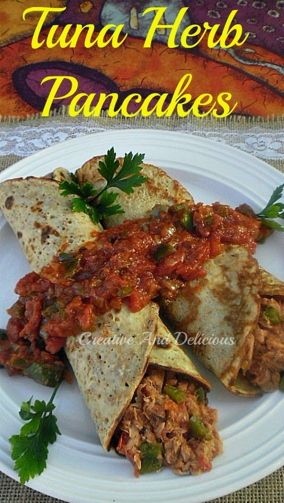 Wholewheat Pancakes with a delicious Tuna filling and a thick, tasty Tomato Sauce !