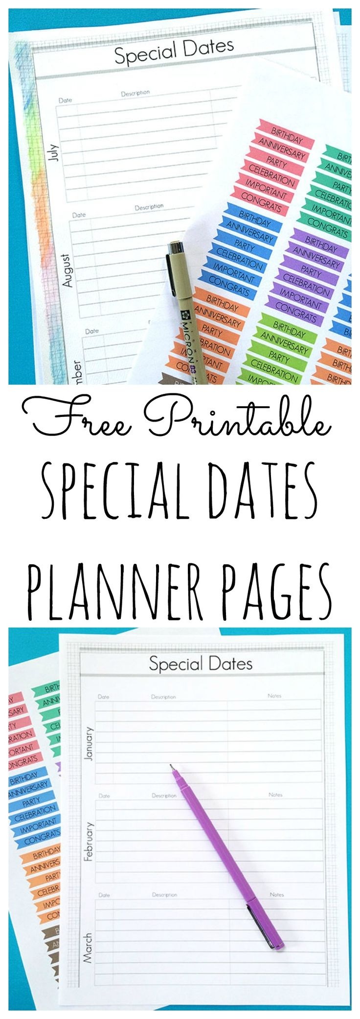 Print these special dates planner pages for free and never miss another birthday or anniversary! Perfect printable to get you organized this year!