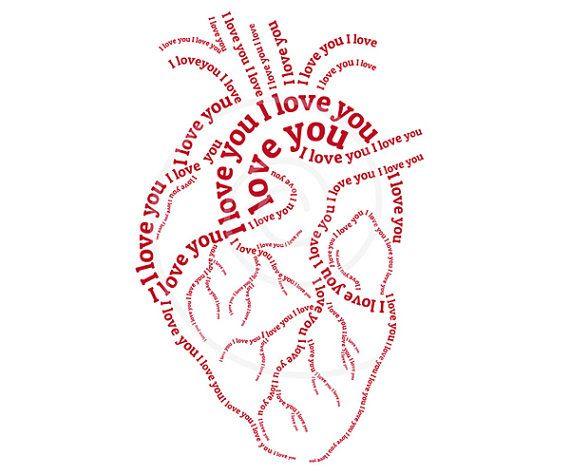 Rojo corazón humano arte de la palabra tipografía por Illustree, $5.00