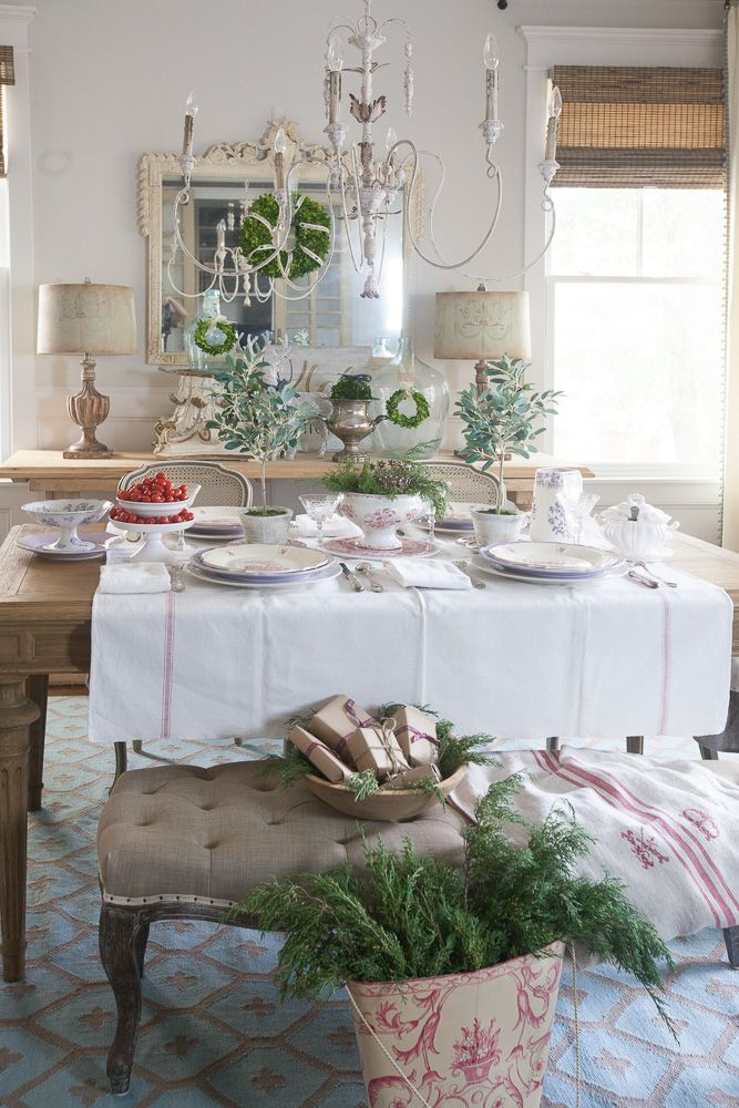 Entertaining for Christmas using red and white - a favorite color combination from Cedar Hill Farmhouse.
