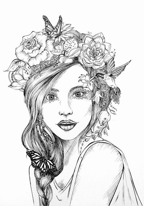 Modern Romance Coloring Book Unique Flower Crown On Behance Vinok Pinterest Flower Crown Drawing Crown Drawing Flower Drawing