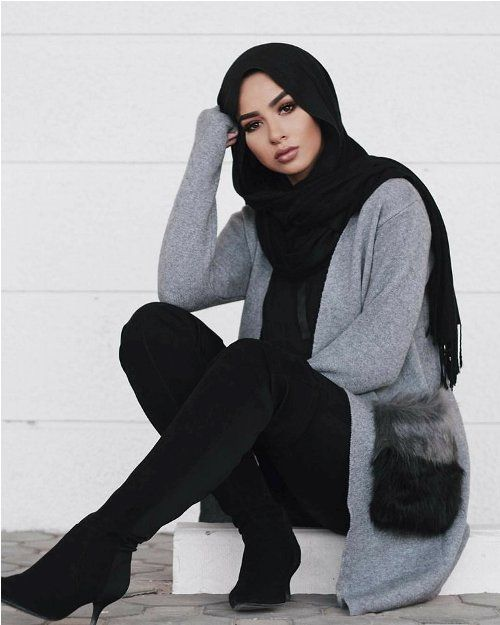 grey oversized cardigan sohamt hijab-Hijab fashion style in winter – Just Trendy Girls