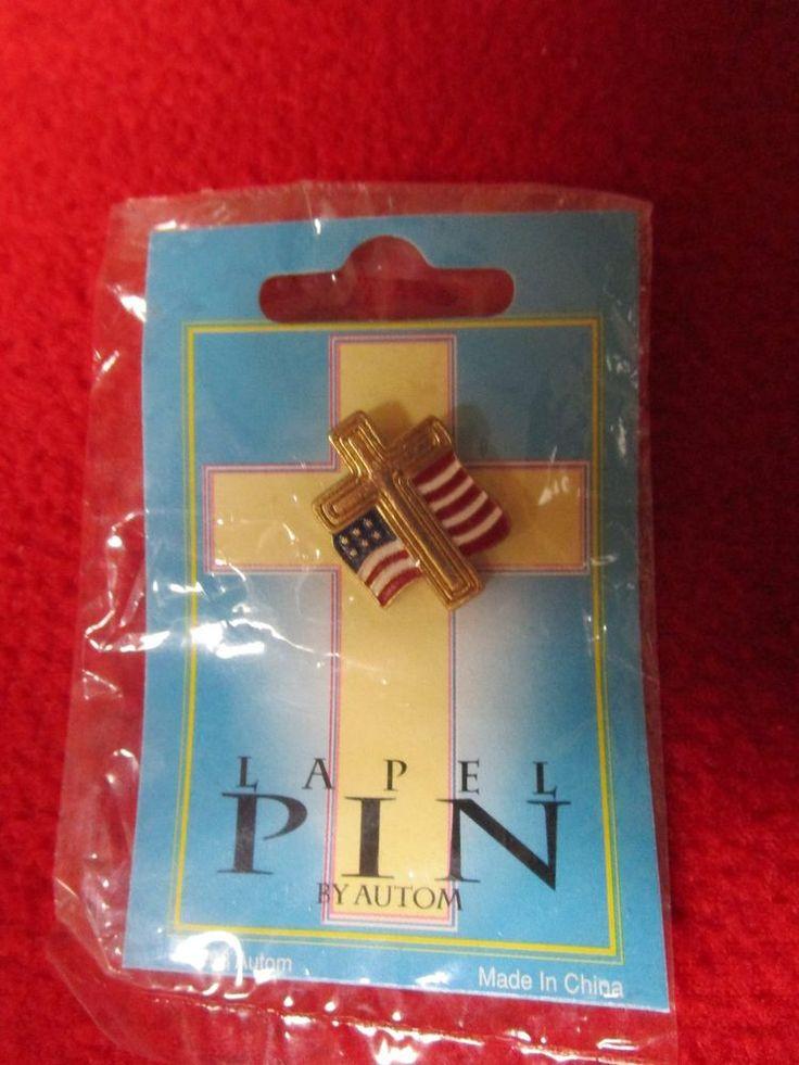 PATRIOTIC CROSS W/AMERICAN FLAG LAPEL PIN GOLD PLATE ENAMEL RELIGIOUS VETERANS  #ChristianBrands