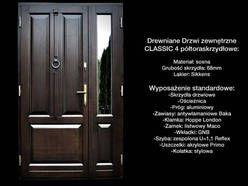 Drzwi Zewnętrzne Wejściowe Drewniane Classic 4 półtora skrzy