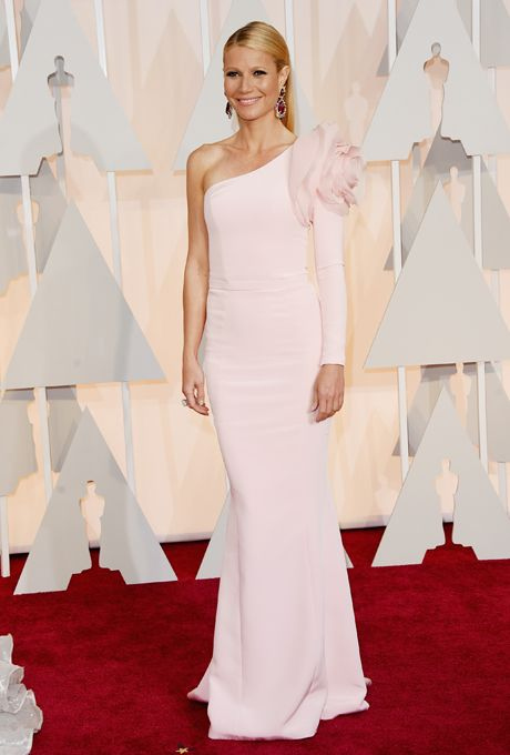Brides.com: . Gwyneth Paltrow in Ralph & Russo. With a standout floral detail on the shoulder of its one sleeve, Paltrow's soft pink Ralph & Russo gown was simply stunning. Its subtle mermaid silhouette is traditionally bridal, but we can also see a maid-of-honor standing out in this extra-special dress.