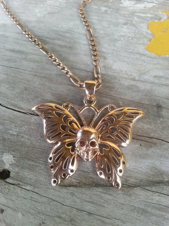 Bold and beautiful large filigree skull butterfly necklace /pendant Solid 9ct rose gold pendant Available attached to the chain first 4 photos or