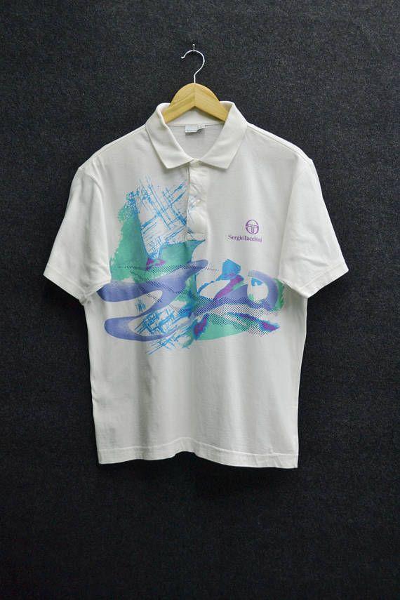 21e1f63cd362 SERGIO TACCHINI Shirt Vintage 90 s Sergio Tacchini Multicolor Splashed Tennis  Polo Tee T Shirt Size M