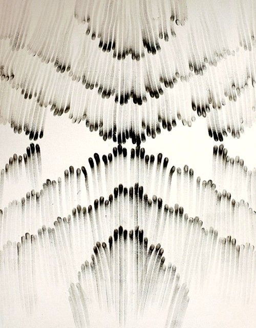 matchmaker, matchmaker.  Love this black and white bold pattern made from burnt matches.