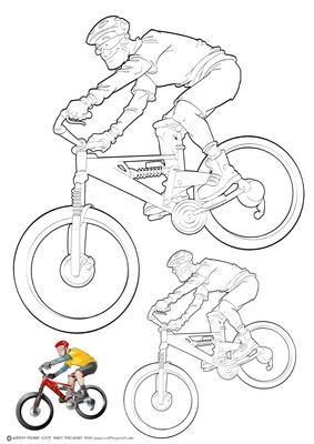 Mountain Bike Dude Digi Stamp  on Craftsuprint designed by Gordon Fraser - This Dude kicks up the dirt on his rad mountain bike! Digi stamp version of Mountain Bike Dude in two different sizes, (can easily be resized in your own software) colour guide for reference. Please check out my other all original artwork designs! All art by Gordon Fraser. - Now available for download!