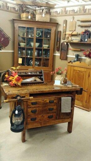 Restored carpenters work bench. Great kitchen island!!!